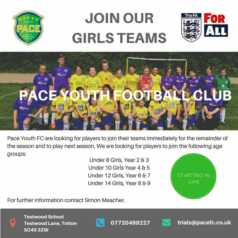 Join Our Girls Teams! – Pace Youth Football Club